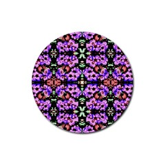 Purple Green Flowers With Green Rubber Round Coaster (4 Pack)
