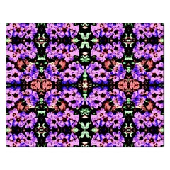 Purple Green Flowers With Green Rectangular Jigsaw Puzzl by Costasonlineshop