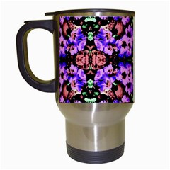 Purple Green Flowers With Green Travel Mugs (white) by Costasonlineshop