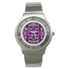 Purple Green Flowers With Green Stainless Steel Watches by Costasonlineshop
