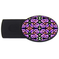 Purple Green Flowers With Green Usb Flash Drive Oval (4 Gb)  by Costasonlineshop