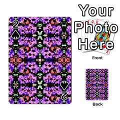 Purple Green Flowers With Green Playing Cards 54 Designs  by Costasonlineshop