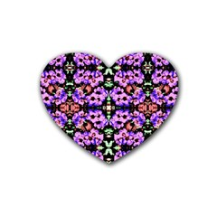 Purple Green Flowers With Green Heart Coaster (4 Pack)  by Costasonlineshop