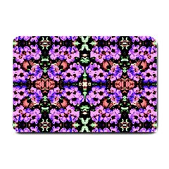 Purple Green Flowers With Green Small Doormat  by Costasonlineshop