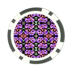 Purple Green Flowers With Green Poker Chip Card Guards (10 Pack)  by Costasonlineshop