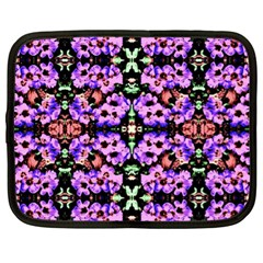 Purple Green Flowers With Green Netbook Case (xl)  by Costasonlineshop