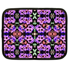 Purple Green Flowers With Green Netbook Case (xxl)  by Costasonlineshop
