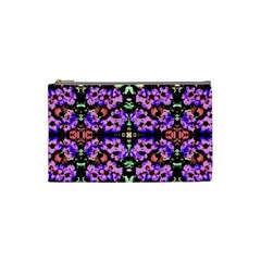 Purple Green Flowers With Green Cosmetic Bag (small)