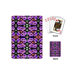 Purple Green Flowers With Green Playing Cards (mini)  by Costasonlineshop
