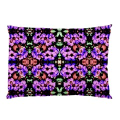 Purple Green Flowers With Green Pillow Cases (two Sides) by Costasonlineshop