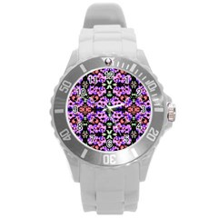 Purple Green Flowers With Green Round Plastic Sport Watch (l) by Costasonlineshop