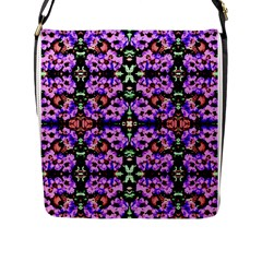 Purple Green Flowers With Green Flap Messenger Bag (l)  by Costasonlineshop