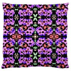 Purple Green Flowers With Green Large Flano Cushion Cases (two Sides)
