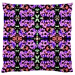 Purple Green Flowers With Green Large Flano Cushion Cases (Two Sides)  Front