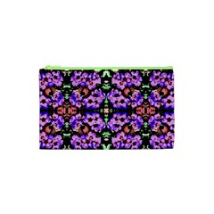 Purple Green Flowers With Green Cosmetic Bag (xs) by Costasonlineshop