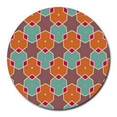 Stars And Honeycombs Pattern			round Mousepad by LalyLauraFLM