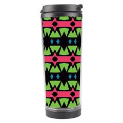 Shapes On A Black Background Pattern Travel Tumbler