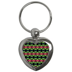 Shapes On A Black Background Pattern			key Chain (heart) by LalyLauraFLM