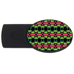 Shapes On A Black Background Pattern			usb Flash Drive Oval (2 Gb) by LalyLauraFLM