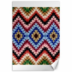 Colorful Diamond Crochet Canvas 12  X 18   by Costasonlineshop