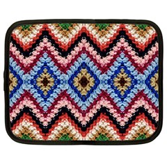 Colorful Diamond Crochet Netbook Case (large) by Costasonlineshop