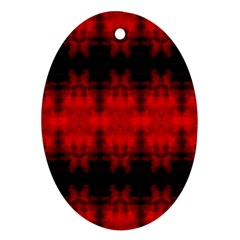 Red Black Gothic Pattern Ornament (oval)  by Costasonlineshop