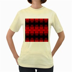 Red Black Gothic Pattern Women s Yellow T Shirt by Costasonlineshop