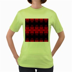 Red Black Gothic Pattern Women s Green T Shirt by Costasonlineshop