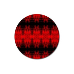 Red Black Gothic Pattern Magnet 3  (round) by Costasonlineshop