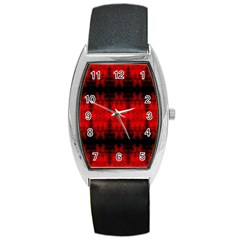 Red Black Gothic Pattern Barrel Metal Watches by Costasonlineshop