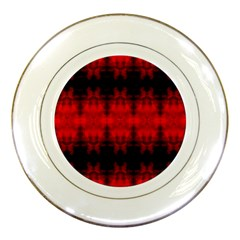 Red Black Gothic Pattern Porcelain Plates by Costasonlineshop