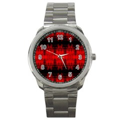 Red Black Gothic Pattern Sport Metal Watches by Costasonlineshop