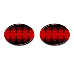 Red Black Gothic Pattern Cufflinks (oval) by Costasonlineshop