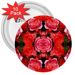 Beautiful Red Roses 3  Buttons (10 Pack)  by Costasonlineshop