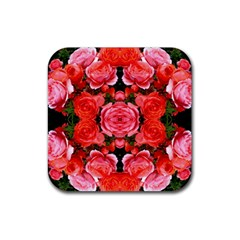 Beautiful Red Roses Rubber Coaster (square)  by Costasonlineshop