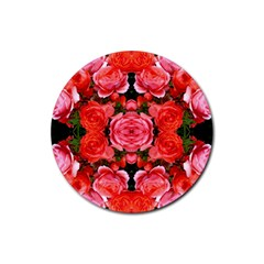Beautiful Red Roses Rubber Coaster (round)  by Costasonlineshop