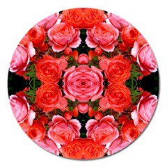 Beautiful Red Roses Magnet 5  (round) by Costasonlineshop