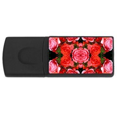 Beautiful Red Roses Usb Flash Drive Rectangular (4 Gb)  by Costasonlineshop