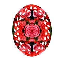 Beautiful Red Roses Oval Filigree Ornament (2 Side)  by Costasonlineshop