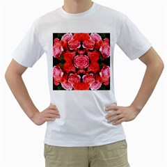 Beautiful Red Roses Men s T Shirt (white)  by Costasonlineshop