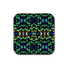 Cool Green Blue Yellow Design Rubber Square Coaster (4 Pack)  by Costasonlineshop