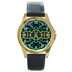 Cool Green Blue Yellow Design Round Gold Metal Watches by Costasonlineshop