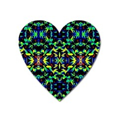 Cool Green Blue Yellow Design Heart Magnet by Costasonlineshop