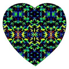 Cool Green Blue Yellow Design Jigsaw Puzzle (heart) by Costasonlineshop