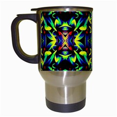 Cool Green Blue Yellow Design Travel Mugs (white) by Costasonlineshop