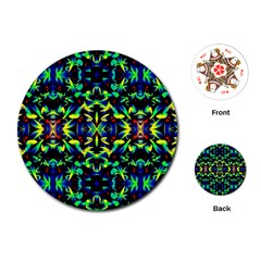 Cool Green Blue Yellow Design Playing Cards (round)  by Costasonlineshop