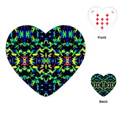 Cool Green Blue Yellow Design Playing Cards (heart)  by Costasonlineshop