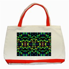 Cool Green Blue Yellow Design Classic Tote Bag (red)  by Costasonlineshop