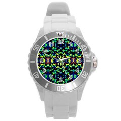 Cool Green Blue Yellow Design Round Plastic Sport Watch (l) by Costasonlineshop