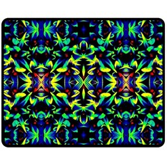 Cool Green Blue Yellow Design Double Sided Fleece Blanket (medium)  by Costasonlineshop